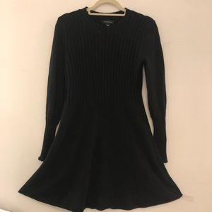 Club Monaco fitted ribbed A-line knit wool dress